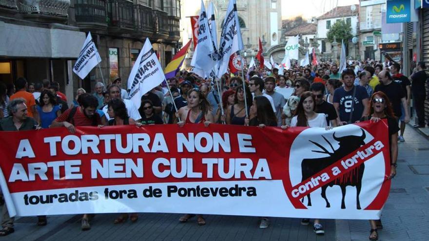 Otra de las manifestaciones anteriores contra las corridas de toros en Pontevedra