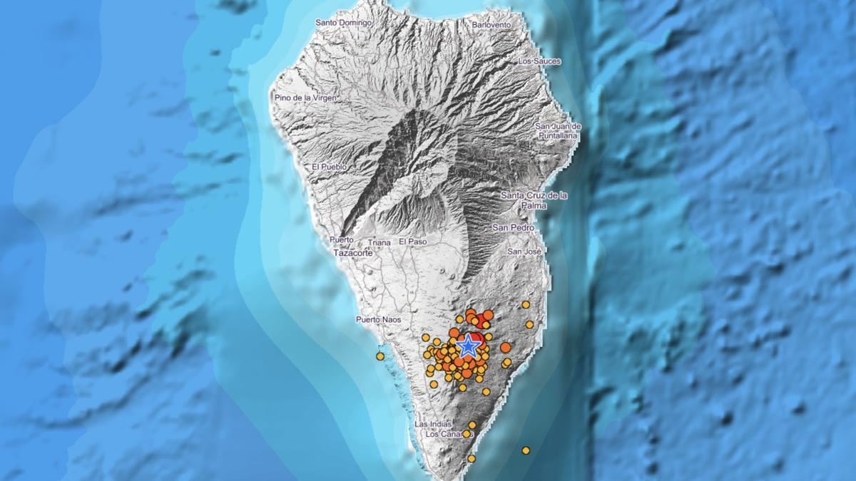Terremotos localizados en los últimos tres días en La Palma