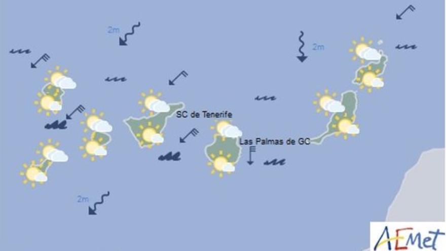 Mapa con la previsión meteorológica para este viernes, 11 de agosto de 2017