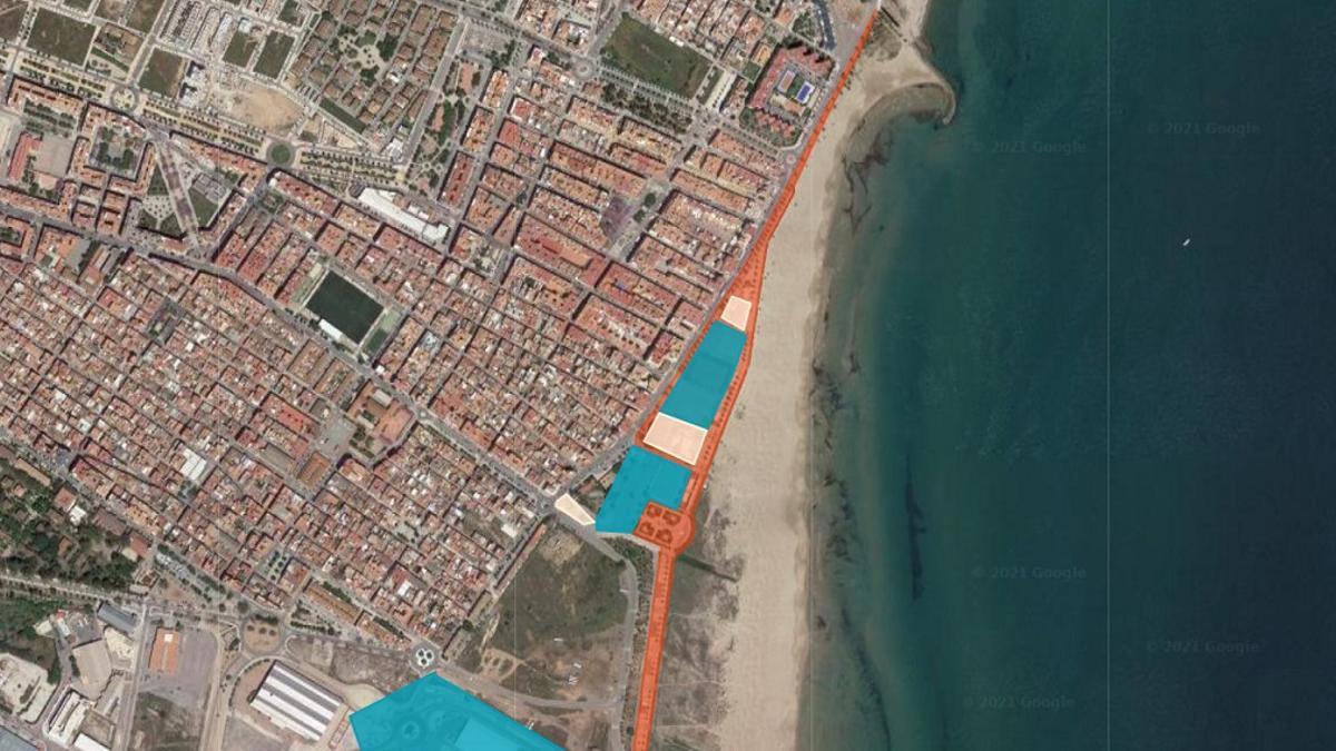 Imagen del espacio del paseo marítimo de Sagunt que se remodelará.