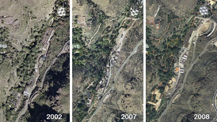 Ortofotos de Palmitos Park en 2002, 2007 y 2008, con el delfinario en la parte superior derecha en la última.
