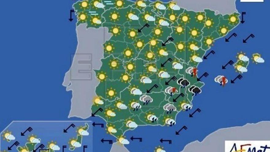 Hoy, lluvias torrenciales en el sudeste peninsular e Ibiza