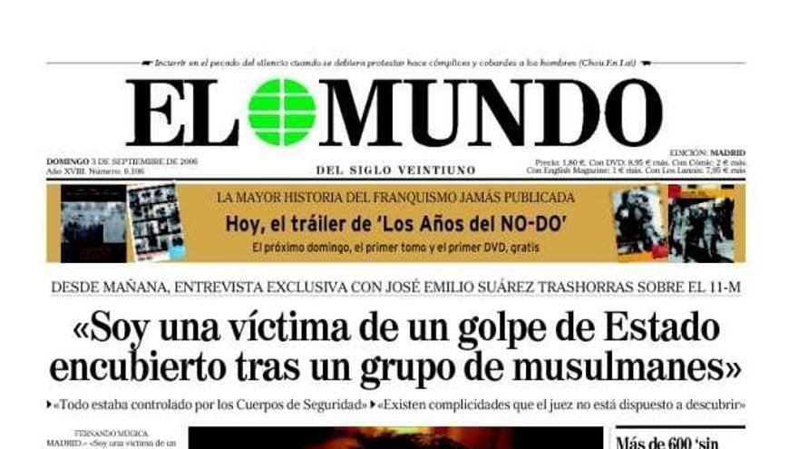 Resultado de imagen de PORTADA EL MUNDO TEORÍA CONSPIRACION 11-M