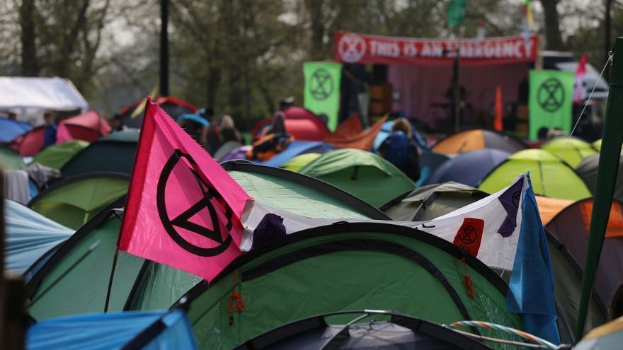 Campamento de manifestantes de Extinction Rebellion en Marble Arch, en el centro de Londres.