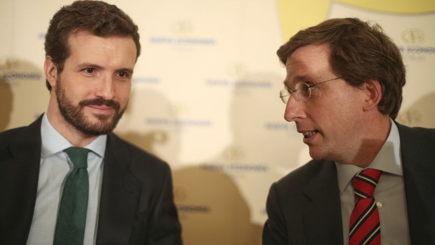 Pablo Casado y José Luis Martínez-Almeida, en el desayuno de Europa Press.