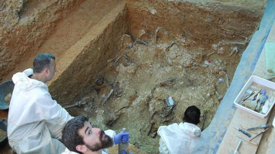 Trabajadores de ArqueoAntro exhuman restos de víctimas del franquismo en la Fosa 113 de Paterna