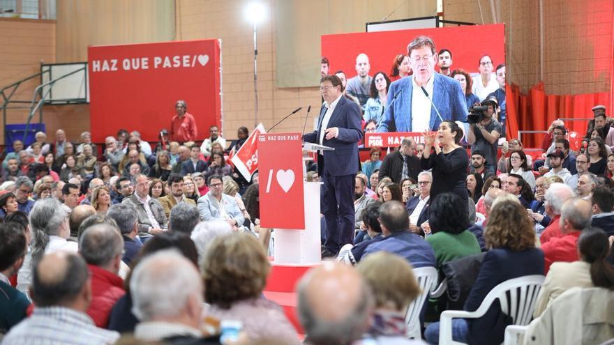 Ximo Puig interviene en un acto del PSOE en Alicante