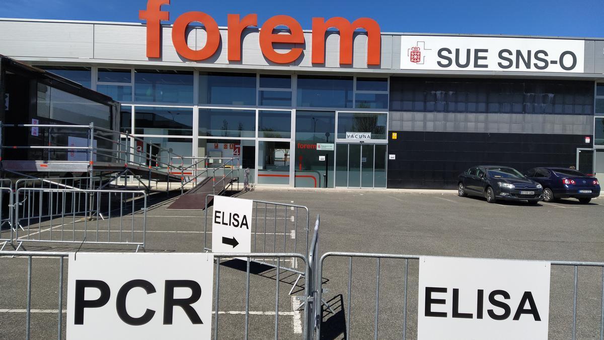 Instalaciones de FOREM en Pamplona, donde Salud está realizando el cribado a los jóvenes que viajaron a Salou