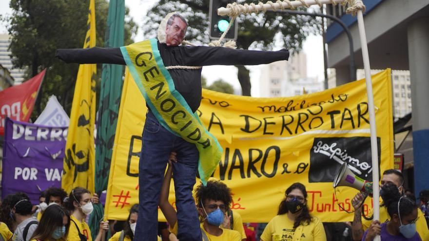 Manifestación contra Jair Bolsonaro en Río de Janeiro
