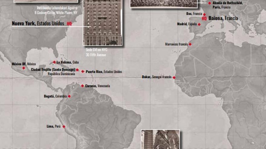 Mapa con las ubicaciones documentadas de agentes del SVI durante la II Guerra Mundial