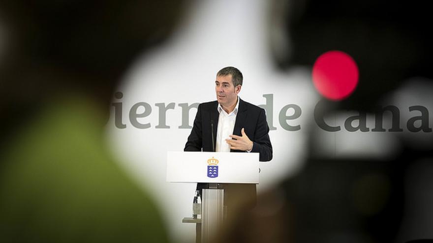Fernando Clavijo en una comparecencia ante los medios de comunicación