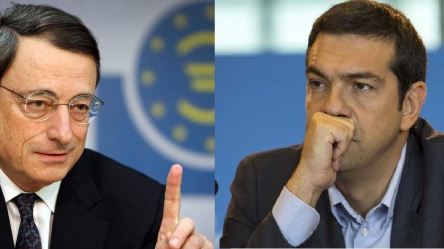 Mario Draghi, presidente del BCE, y Alexis Tsipras, líder de Syriza