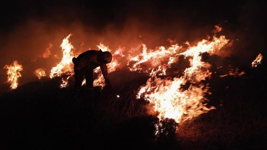 Brigadas forestales en pleno incendio / Foto: ATBrif