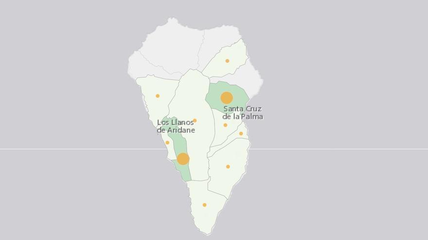 Mapa de La Palma del informe de casos de COVID-19 en la Isla.