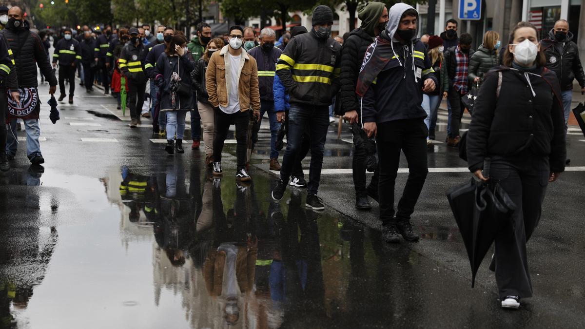 Trabajadores de Tubacex durante una manifestación en Bilbao