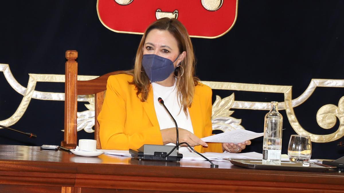 """Maria Dolores Corujo, en el pleno del Cabildo en el que ha presentado los documentos que demuestran la """"connivencia"""" de San Ginés con Calatayud"""