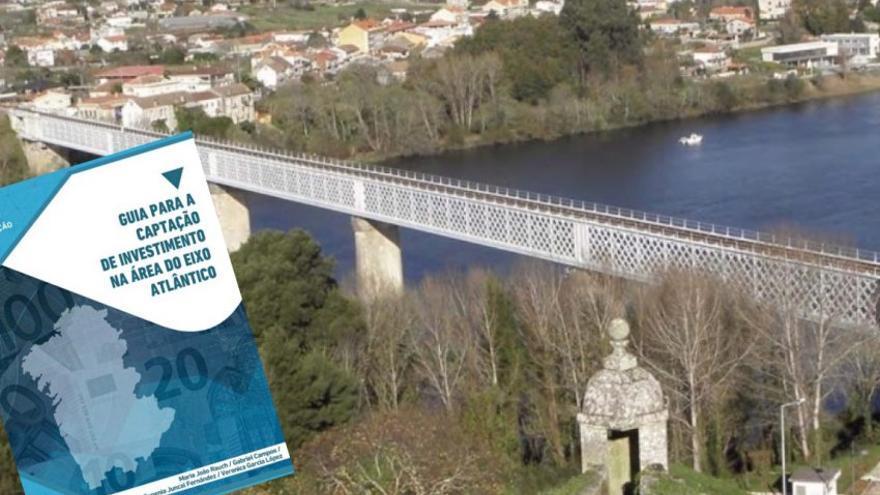 Puente internacional de Tui entre Galicia y Portugal y documento del Eixo Atlántico
