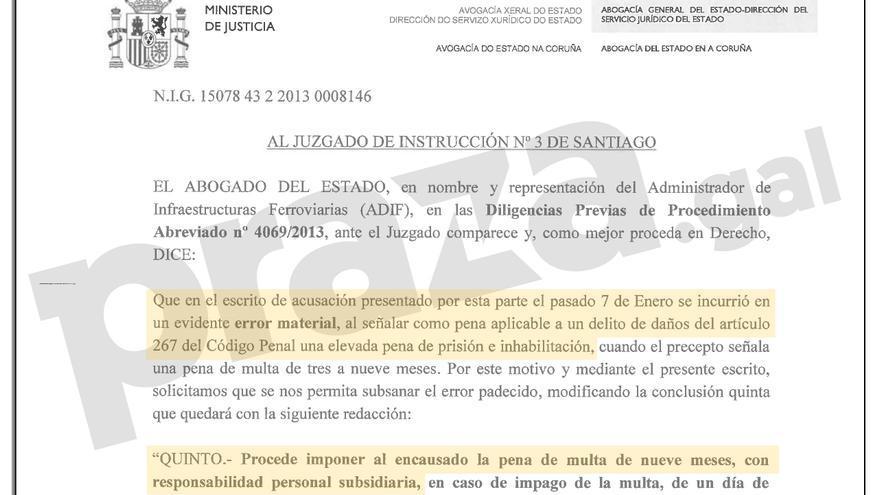Fragmento del escrito de Adif al juzgado de Santiago reconociendo su error en la petición de condena al maquinista