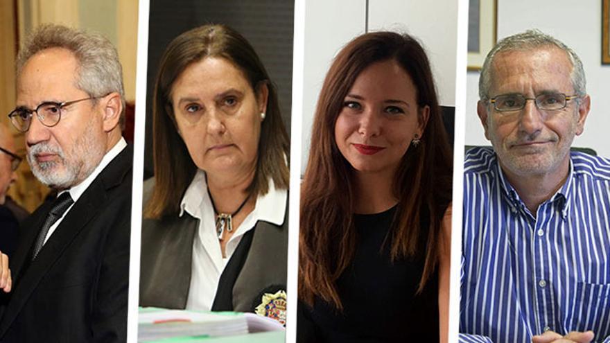 Emilio Moya, Pilar Parejo, Carla Vallejo y Juan José Cobo Plana, aspirantes a presidir la Audiencia de Las Palmas.