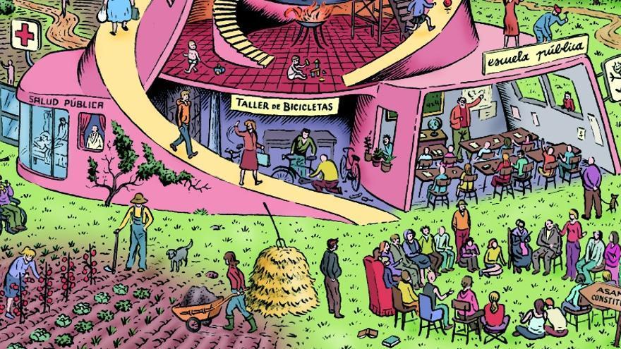 Fragmento de una ilustración sobre el 25-S del dibujante Miguel Brieva