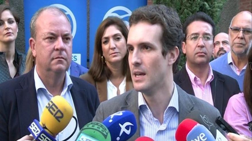 """Pablo Casado recalca que mientras el PP gobierne """"no se va a ceder a ningún pulso"""" ni """"chantaje secesionista"""""""