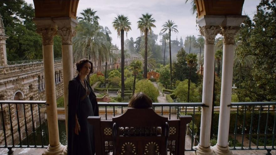 El Reino de Dorne, en una panorámica clásica del Alcázar de Sevilla.