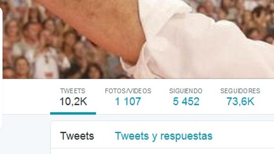 Pantallazo de la cuenta de Twitter de Pedro Sánchez.