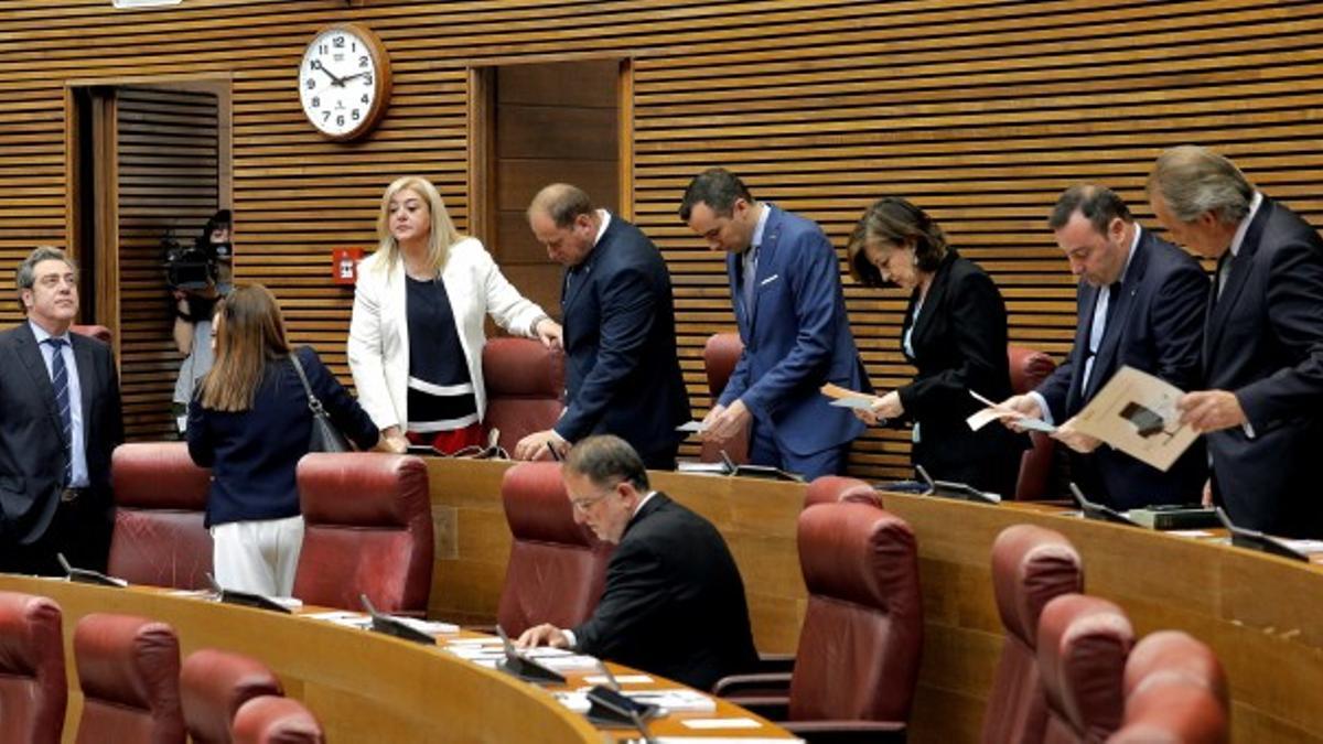 El grupo parlamentario de Vox en las Corts Valencianes.