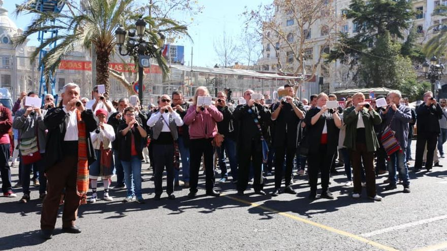 'Tabalá' popular organizada el pasado año por la falla Plaza Doctor Collado en homenaje al 'dolçainer' Joan Blasco