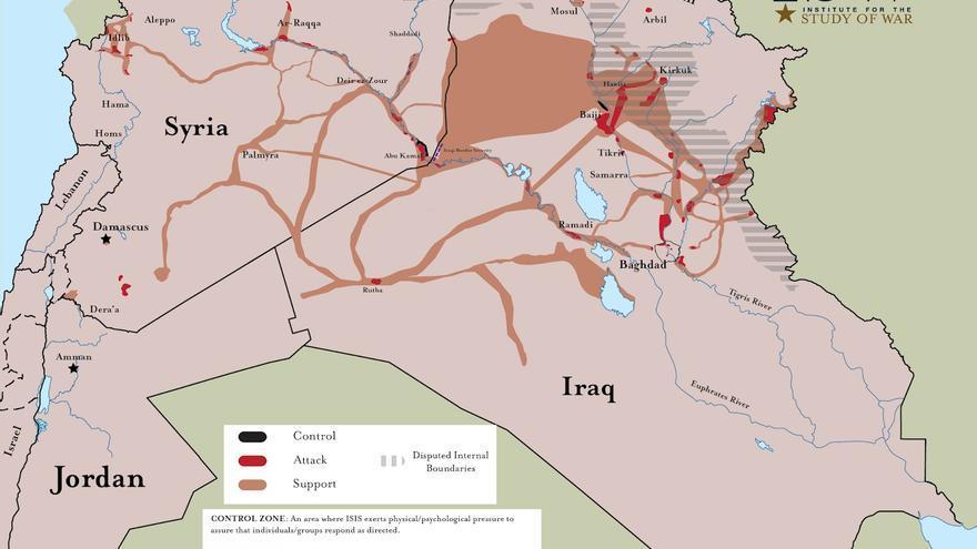 Mapa elaborado por el Institute for the Study of War en función de las operaciones de ISIS llevadas a cabo entre enero y octubre de 2018. En negro, las zonas controladas por los terroristas; en rojo, las zonas donde ha atacado; en naranja, las zonas de apoyo del grupo.