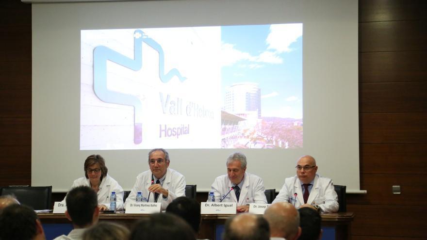 El gerente de Vall d'Hebron, Vicenç Martínez, durante la rueda de prensa