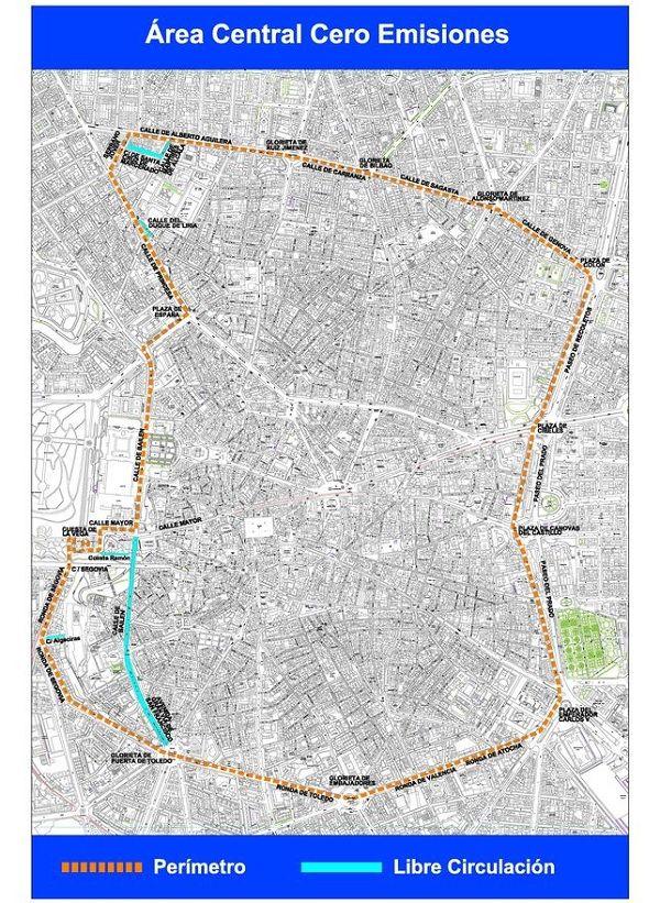Plano Área central cero emisiones | Ayuntamiento de Madrid