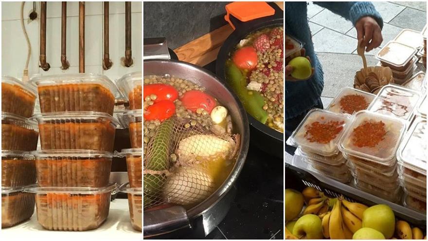 Voluntarios cocinan en sus casas particulares potajes para repartir gratis entre gente necesitada