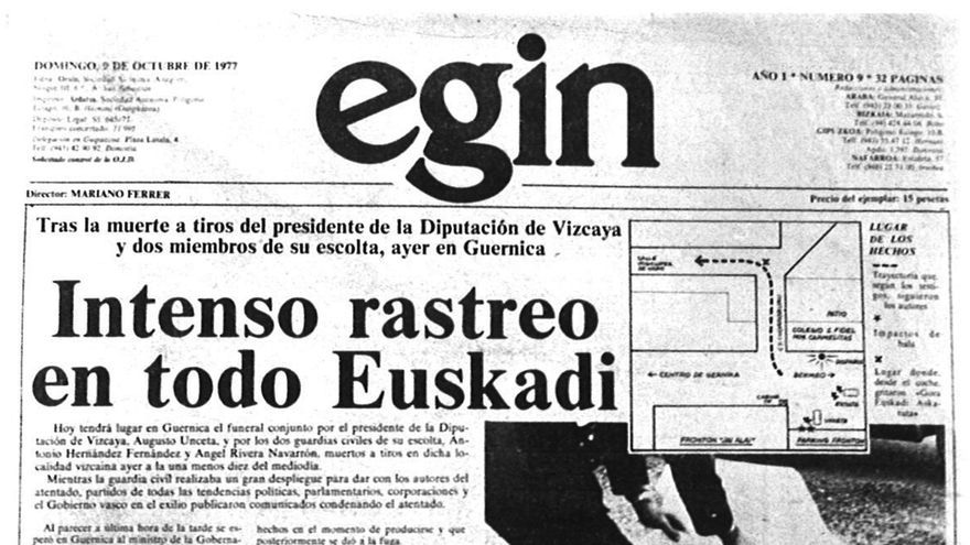 Portada de Egin del 9 de octubre de 1977.