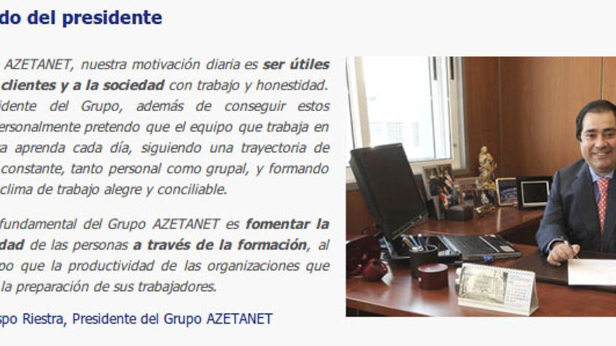 Saludo de Crespo en la web de Azetanet, ahora inactiva