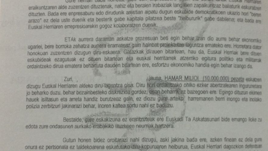 Carta de una remesa del chantaje terrorista de ETA