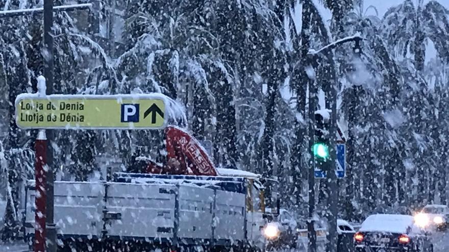 Imagen de la nevada en Dénia