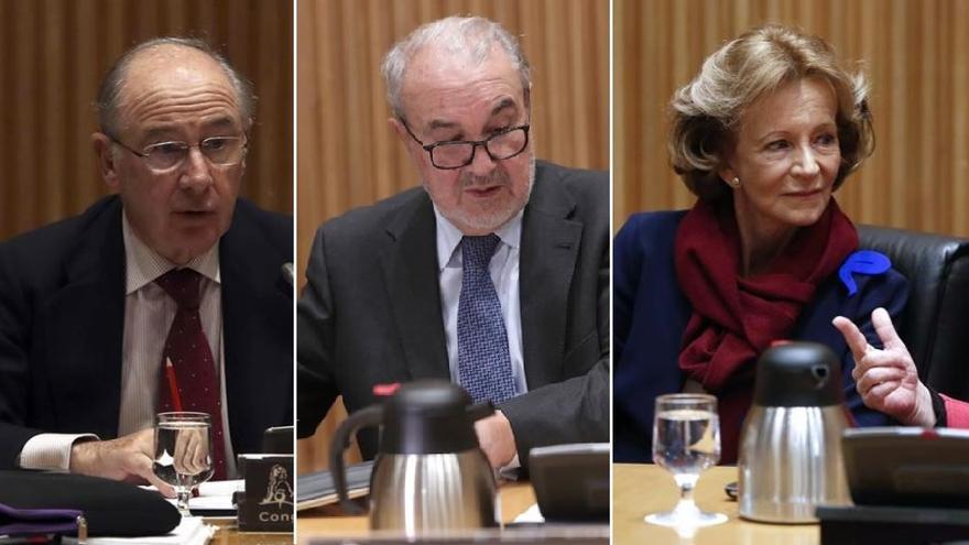 Rodrigo Rato, Pedro Solbes y Elena Salgado, en sus comparencias esta semana en el Congreso.