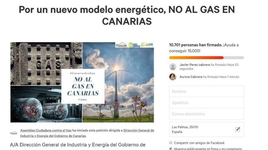 Captura de pantalla de la recogida de firmas en Change.org
