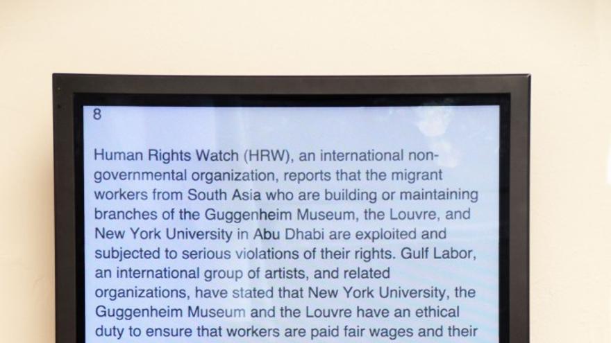 Who is Building the Guggenheim Abu Dhabi de Gulf Labour Coalition en la Bienal de Venecia