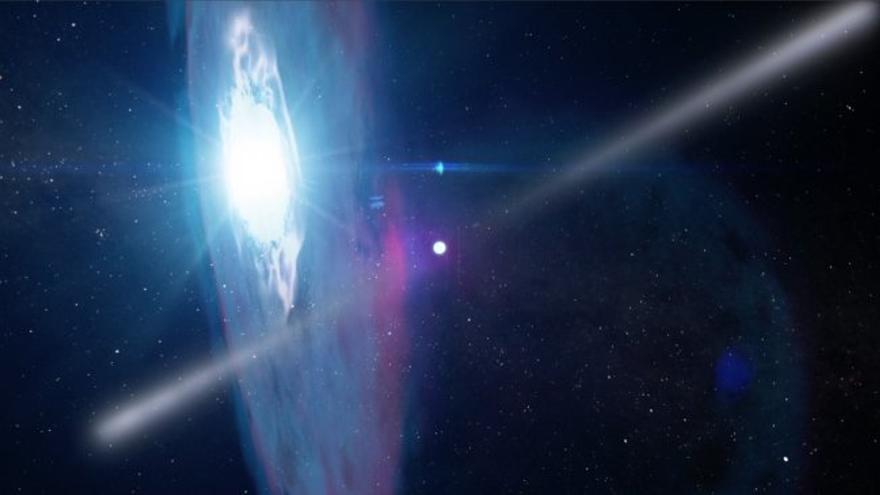 El púlsar PSR J2032+4127 en su momento de máximo acercamiento a la estrella MT91 213, una estrella azul con un disco de materia a su alrededor. Crédito: NASA's Goddard Space Flight Center