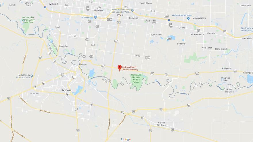 Localización de la capilla y el cementerio de la nación Carrizo/Comecrudo cerca de la frontera con México