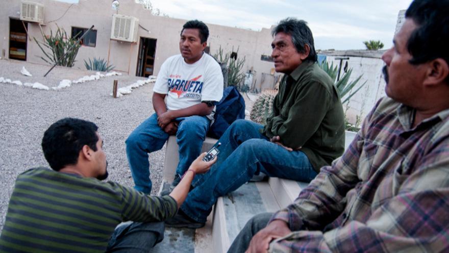 Durante la cobertura del proyecto 'Migrantes' de El Faro/ Foto cedida