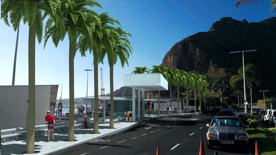 Recreación del paseo peatonal en el borde urbano del Puerto Santa Cruz de La Palma.
