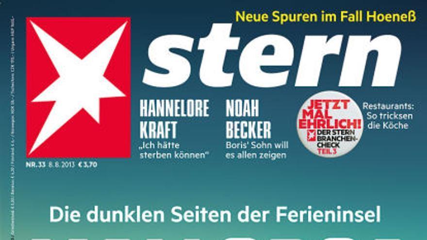 """Portada del 08.08.2013 de la revista alemana Stern: """"Mallorca. La cara oscura de la isla vacacional""""."""