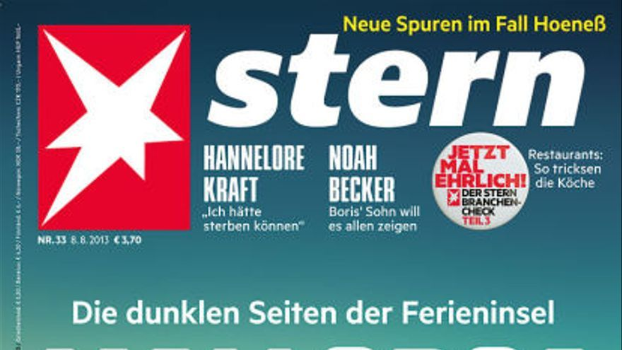 "Portada del 8 de agosto de 2013 de la revista alemana Stern: ""Mallorca. La cara oscura de la isla vacacional""."