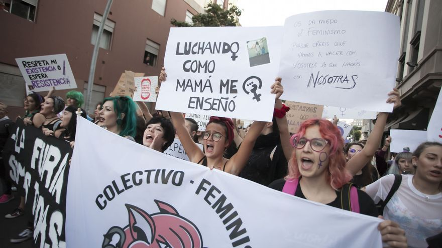 Un grupo de manifestantes femeninas, esta tarde noche en Santa Cruz