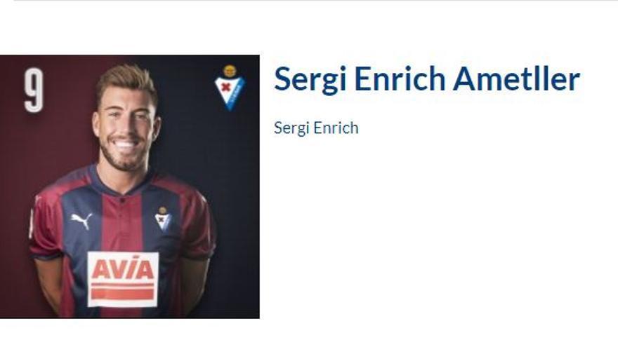Ficha del jugador Sergi Enrich en la web del Eibar.