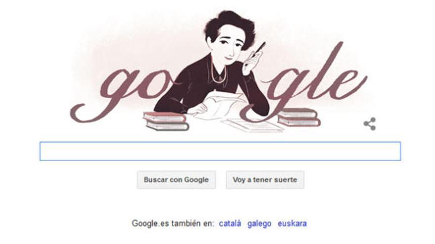 El 'doodle' que Google dedicó a Hannah Arendt