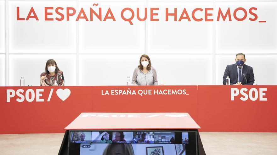 Reunión semipresencial de la Ejecutiva Federal del PSOE en Ferraz, encabezada por Adriana Lastra, Cristina Narbona y José Luis Ábalos